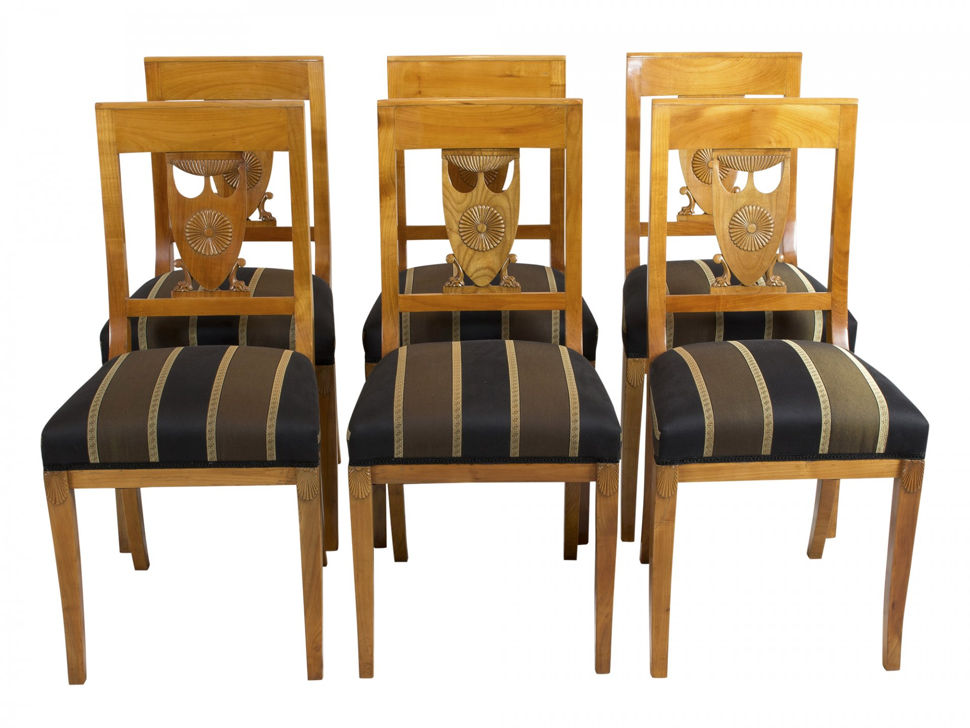 Sitzgruppe 2 Armlehnstuhle 6 Stuhle Kirschbaum Empire Antik Antiquitaten