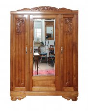 3-türiger Schrank - Kirschbaum - Art-Deco  - Antik - Möbel - Antiquitäten