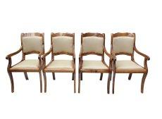 4er Set Armlehnstühle - Nussbaum - Biedermeier  - Antik - Möbel - Antiquitäten