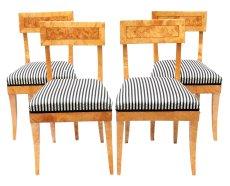 4er Set Stühle - Birke - Biedermeier  - Antik - Möbel - Antiquitäten