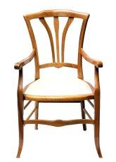Armlehnstuhl - Nussbaum - Historismus  - Antik - Möbel - Antiquitäten