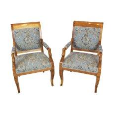 Paar Armlehnstühle - Pflaumenholz - Empire  - Antik - Möbel - Antiquitäten