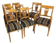 Sitzgruppe, 2 Armlehnstühle, 6 Stühle - Kirschbaum - Empire  - Antik - Möbel - Antiquitäten