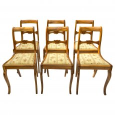 Stuhlgruppe, 6er Set/Satz - Nussbaum - Biedermeier  - Antik - Möbel - Antiquitäten